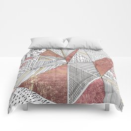Geometrical hand painted faux rose gold black white abstract pattern Comforters