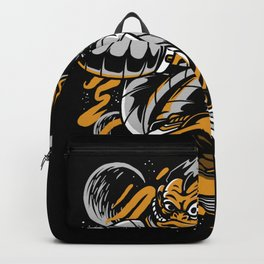 Monkey Space Skateboarder Gift Idea Design Motif Backpack