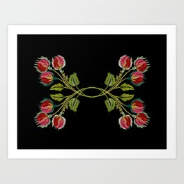 Embroidered Scandi Flowers Art Print
