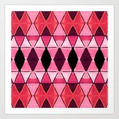 Art Deco Triangles Hot Pink Art Print