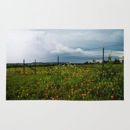 Texas Wildflowers - Retro Style Art of Flowers Along Fenceline Rug