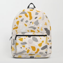 Terrazzo memphis vintage mustard yellow white grey black Backpack