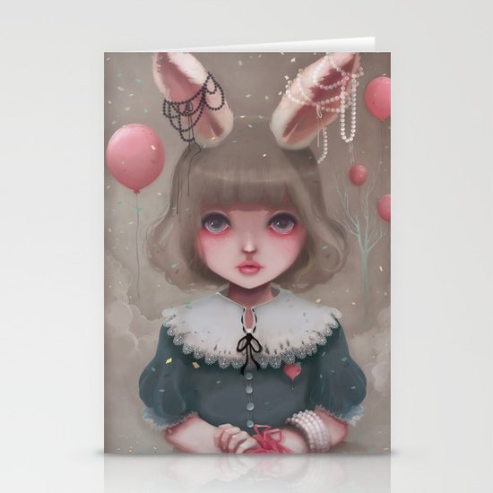 Juliette, balloons & pearls... Stationery Cards