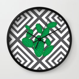 Cactus - Abstract geometric pattern - gray and white. Wall Clock