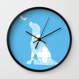 Labrador Retreiver Dog On Blue Colour Wall Clock