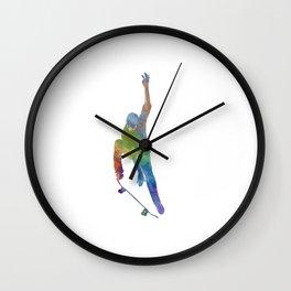 Man skateboard 04 in watercolor Wall Clock