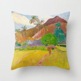 Tahitian Landscape by Paul Gauguin Throw Pillow