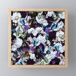 hummingbird paradise ethereal autumn flower pattern nfd Framed Mini Art Print
