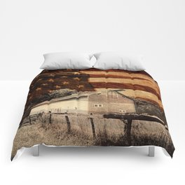 Rustic Barn Americana Heartland Farmhouse Country Flag Decor Art A464 Comforters