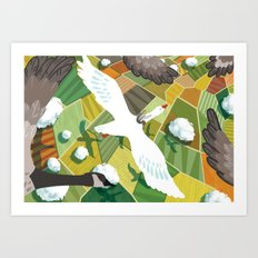 Nils With Wild Geese Art Print