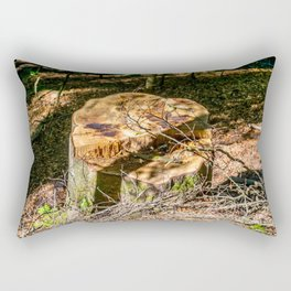 Tree Stump of cut down Tree in the Forest (orange/brown) Rectangular Pillow