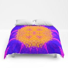 Yellow Raging Blue Flower Comforters