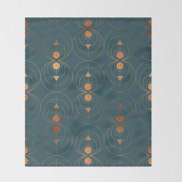 Copper Art Deco on Emerald Throw Blanket