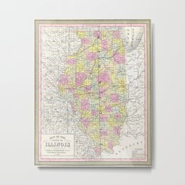 Vintage Map of Illinois (1850) Metal Print