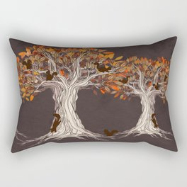 Little Visitors - Autumn tree illustration with squirrels Rectangular Pillow