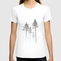 Look Up White LARGE Womens Fitted Tee