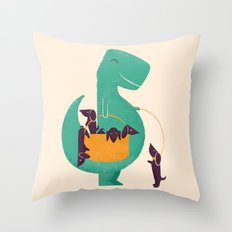 T-Rex and his Basketful of Wiener Dogs Throw Pillow