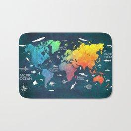 Ocean World Map color #map #worldmap Bath Mat