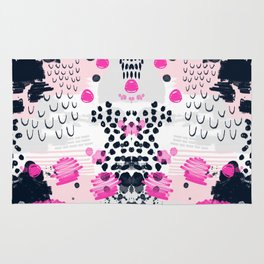 Jiri - Abstract painting in modern fresh colors navy, blush, cream, white, and gold decor girly Rug