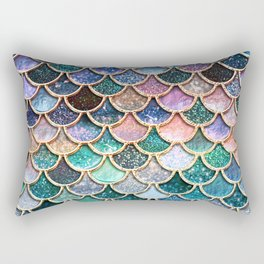 Multicolor Pink And Aqua Mermaid Scales - Beautiful Abstract Glitter Pattern Rectangular Pillow