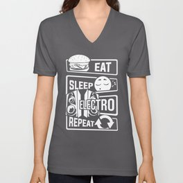Eat Sleep Electro Repeat - Party Festival Music Unisex V-Neck