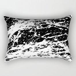 Black and White Paint Splatter Rectangular Pillow