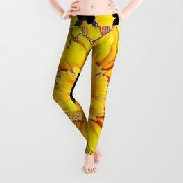 EBONY BUTTERFLIES YELLOW SUNFLOWER GREY ART Leggings