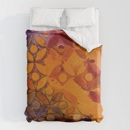 a piece of orange and purple Bettbezug