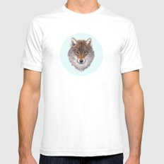 Grey wolf portrait SMALL Mens Fitted Tee White