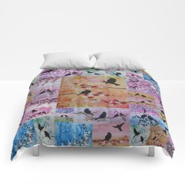 the serenity series- patchwork of sakura and birds -watercolor and acrylic- by Catherine Jacobs Comforters