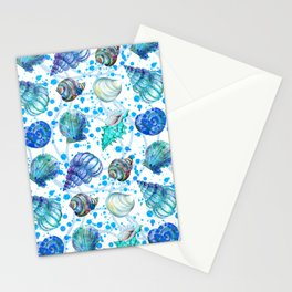 Seamless watercolor marine pattern. Endless texture. Hand draw. Collection of shells on white backgr Stationery Cards
