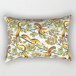 Oak Tree with Squirrels in Winter Rectangular Pillow