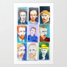 Van Gogh's Self Portraits by Lynne Holyoke 3 Art Print