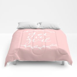 Get it girl - hand lettering pink/white Comforters