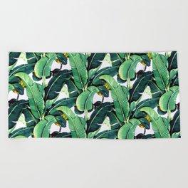 Tropical Banana leaves pattern Beach Towel