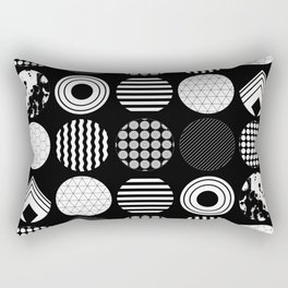 Ecelctic Geometric 2 - Black and white multi patterned design Rectangular Pillow