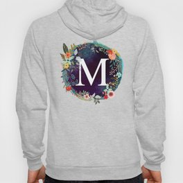 Personalized Monogram Initial Letter M Floral Wreath Artwork Hoody