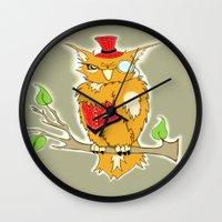 steam punk Wall Clocks featuring Steam Punk Owl by J&C Creations