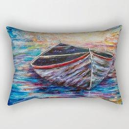 Wooden Boat at Sunrise Rectangular Pillow