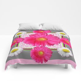 Fuchsia Gerbera & Shasta Daisy  Pink-Grey Pattern Art Comforters