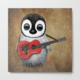 Baby Penguin Playing Albanian Flag Guitar Metal Print