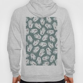 Indian summer eye bohemian hamsa hand of fatima pattern mint teal gray Hoody