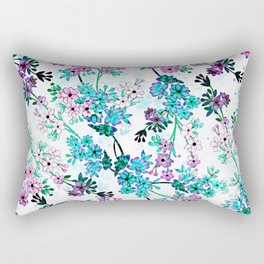Turquoise Lavender Floral Rectangular Pillow