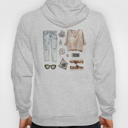 watercolor sketch. fashion outfit, casual style. Hoody