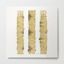Tiki Totems – Gold Palette Metal Print