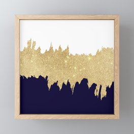 Modern navy blue white faux gold glitter brushstrokes Framed Mini Art Print