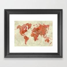 World Map Red Framed Art Print