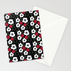 Anemone Print on Black Stationery Cards