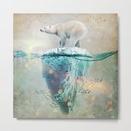 Polar Bear Adrift Metal Print