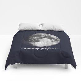 Waxing Gibbous Moon on Navy English Comforters